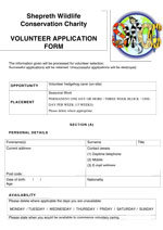 Volunteer application for for on site care - thumbnail